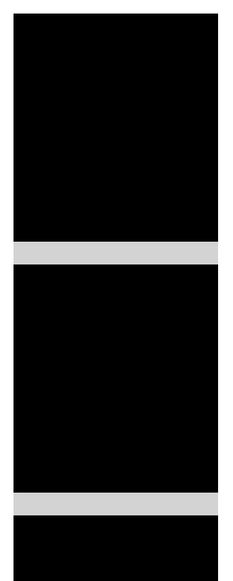 Single column of black rectangles. They are all flush with the edge of the light gray background.