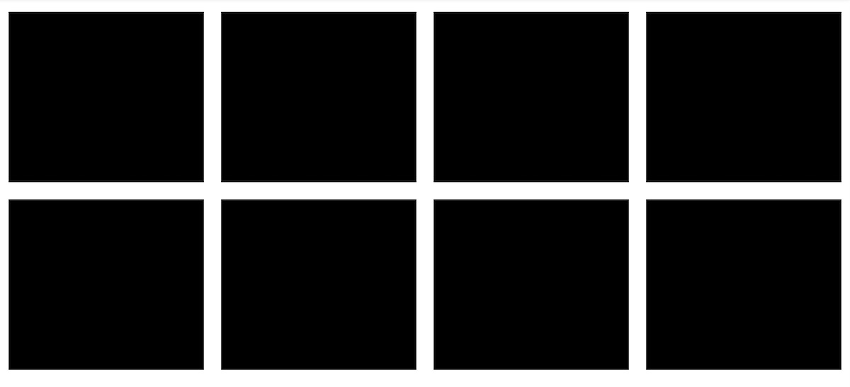 Two rows of black rectangular grid items on a light gray background.